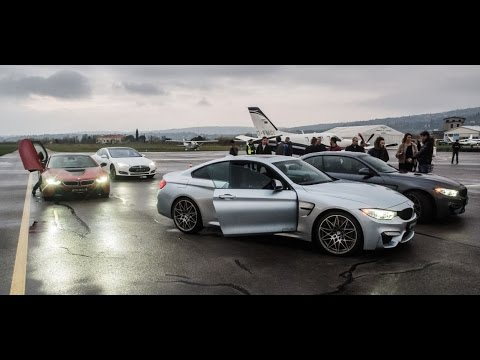 Drag Race Bmw I8 Vs M4 Vs M4 Cabrio Vs Tesla P85 Youtube