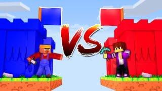 УКРАЛ ФЛАГ И ПОБЕДИЛ! Житель VS Пиксель! Битва Замков в майнкрафт 100% троллинг ловушка minecraft