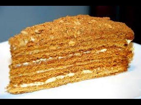 Быстрый медовый торт со сметанным кремом