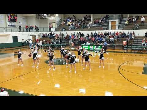 East Limestone High School varsity cheerleaders at Limestone County tournament 2019