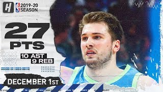 Luka Doncic 27 Pts 10 Ast 9 Reb Full Highlights | Mavericks vs Lakers | December 1, 2019