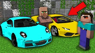 Minecraft NOOB vs PRO: WHY VILLAGER HIDE THIS SUPER CARS IN ABANDONED GARAGE? Challenge trolling