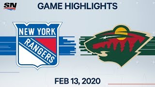 NHL Highlights | Rangers vs. Wild - Feb. 13, 2020
