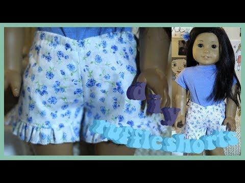 DIY RUFFLE SHORTS FOR AMERICAN GIRL DOLL! | EASY SPRING CLOTHING DIY
