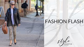 fashion flash | leather shirt & leopard jeans | style over 50