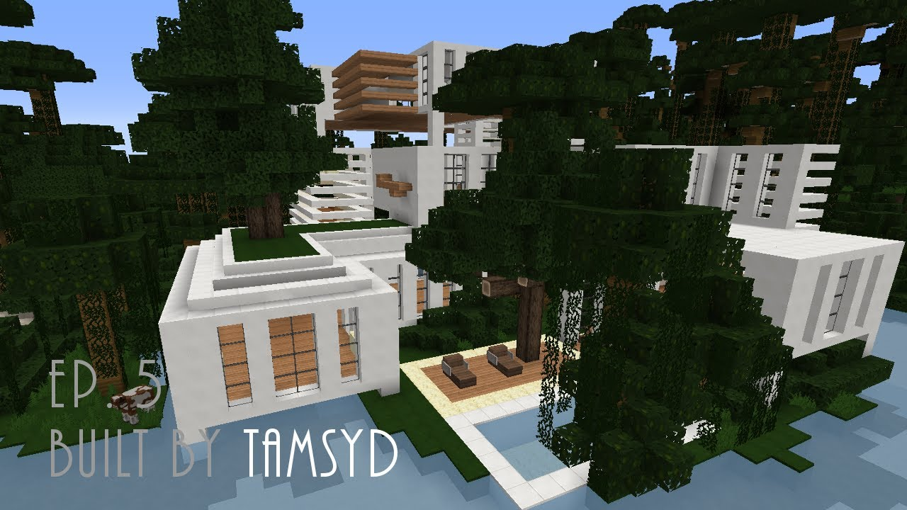 Minecraft modern jungle house built by tamsyd ep 5