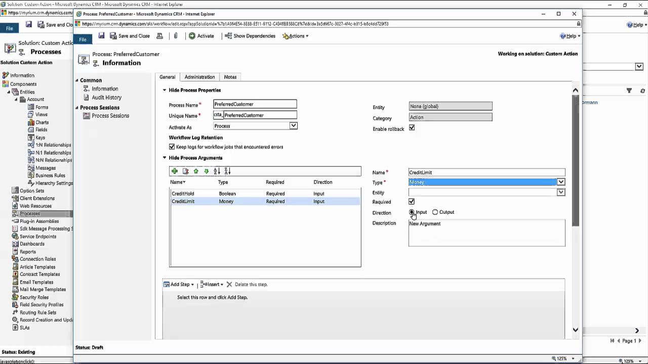 Dynamics CRM Custom Actions