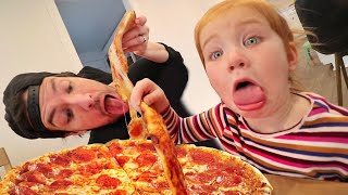 PIZZA PARTY with ADLEY!! Learning to Cook Pepperoni Pizza with Dad  (Mom Hands)