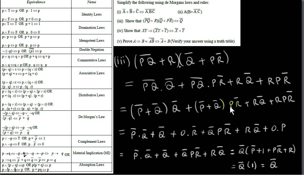 Logic Proving Statements Using The Logical Equivalences