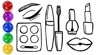 How to Draw Makeup | Glitter Makeup Cosmetics Lipstick Eyeshadow Drawing and Coloring Pages for Kids