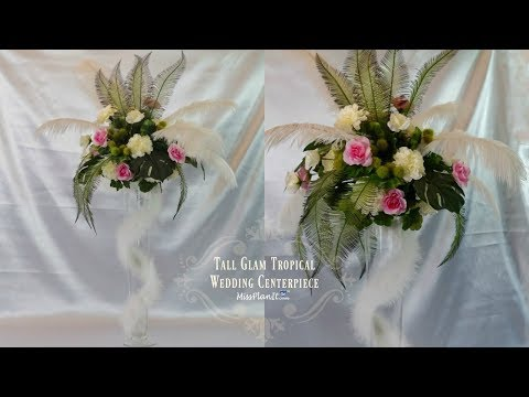 DIY Tall Glam Tropical Wedding Centerpiece | DIY Tall Centerpieces | DIY Tutorial
