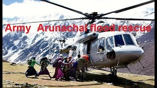 Indian Army mountain rescue team exit chopper for Arunachal flood rescue