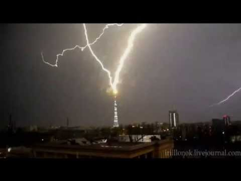 Lightning Strikes Hit  Russian TV Tower