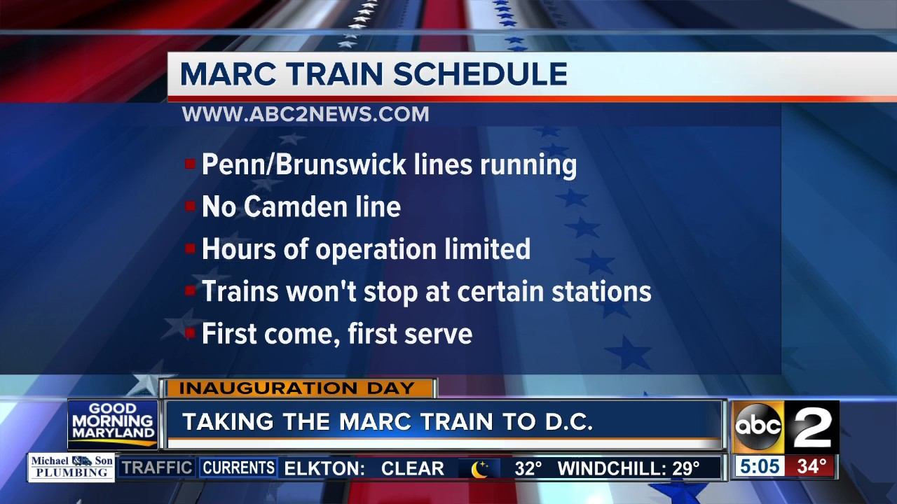 MARC train operating on a special schedule on Inauguration ...