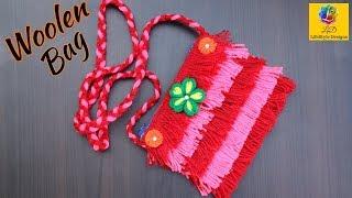 बिना सिलाई बिना कोरसिआ से बनाये woolen Ladies bag with Zipper/handmade woolen handbag/Ladies Purse