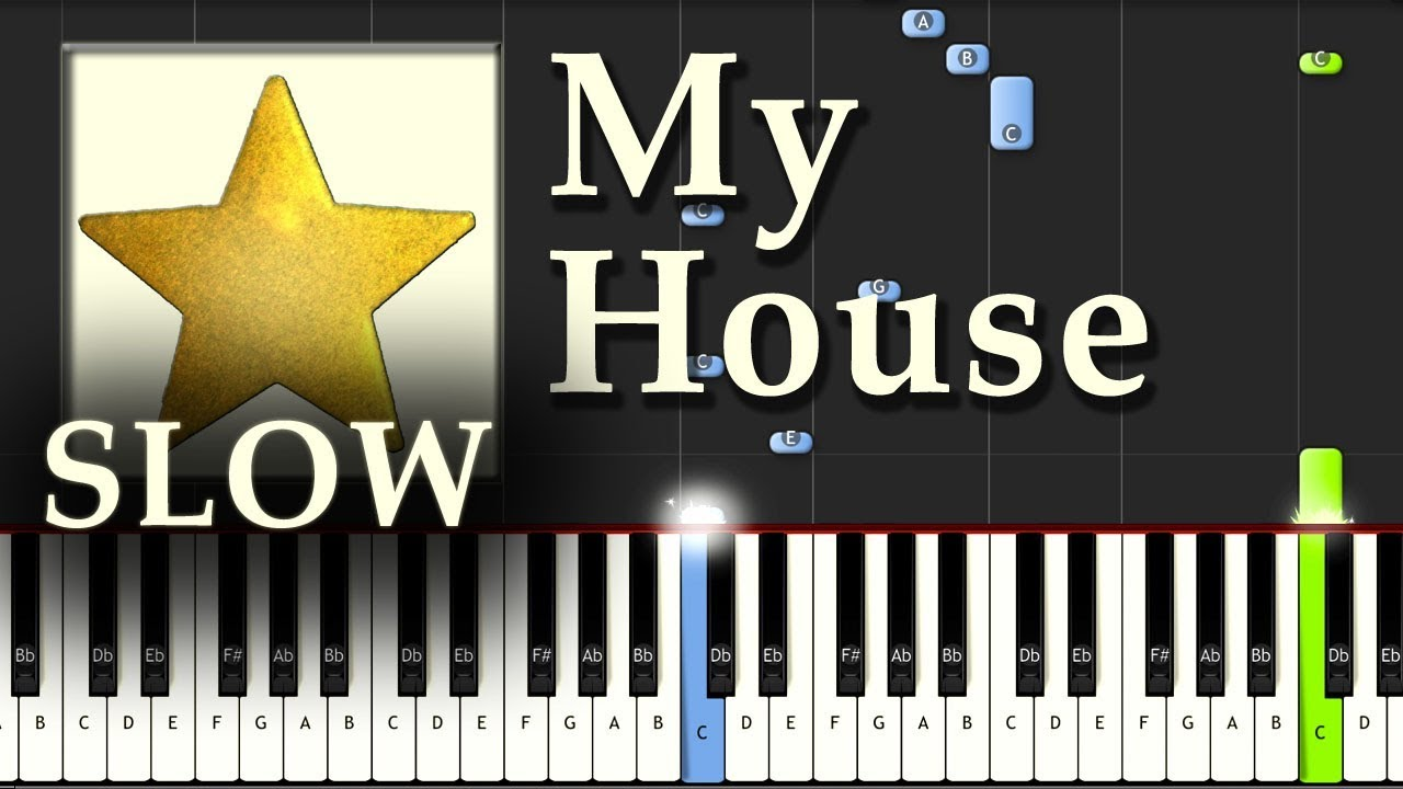 Flo Rida   My House   Piano Tutorial Easy SLOW Synthesia   How To Play