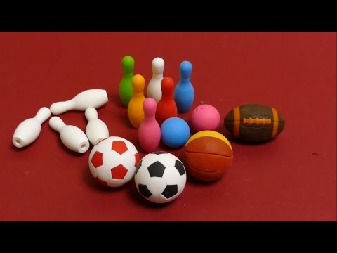 Kawaii Eraser from Japan - Bowling Set, Soccer Ball, Baseball & Basketball
