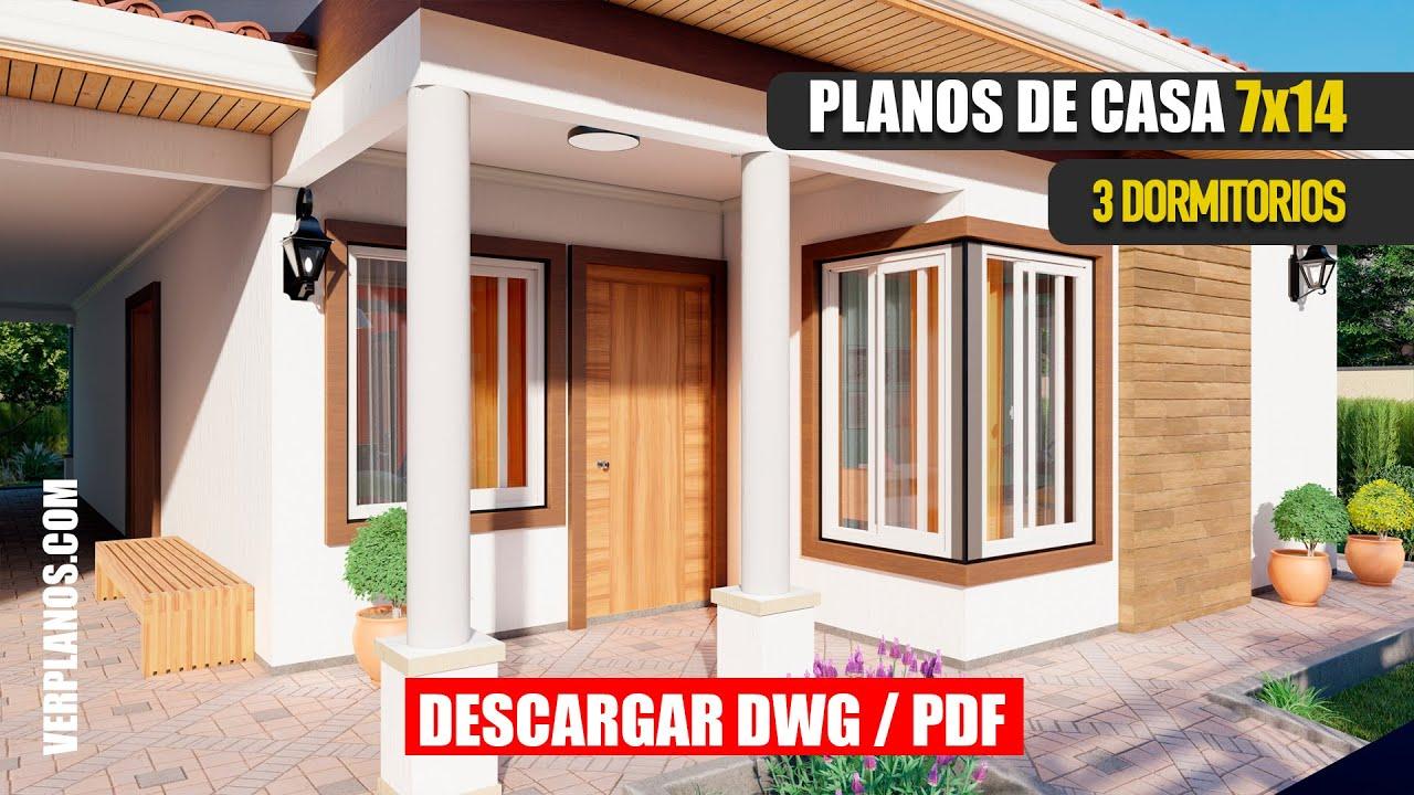 🟢 Plano de Casa de #3 Habitaciones y #2 Baños ✅