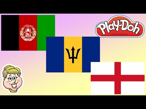 Play-Doh Flags! Afghanistan, Barbados, and England!  EWMJ #212