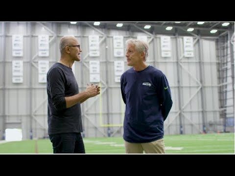Seattle Seahawks Coach Pete Carroll Catches Up with Microsoft CEO Satya Nadella