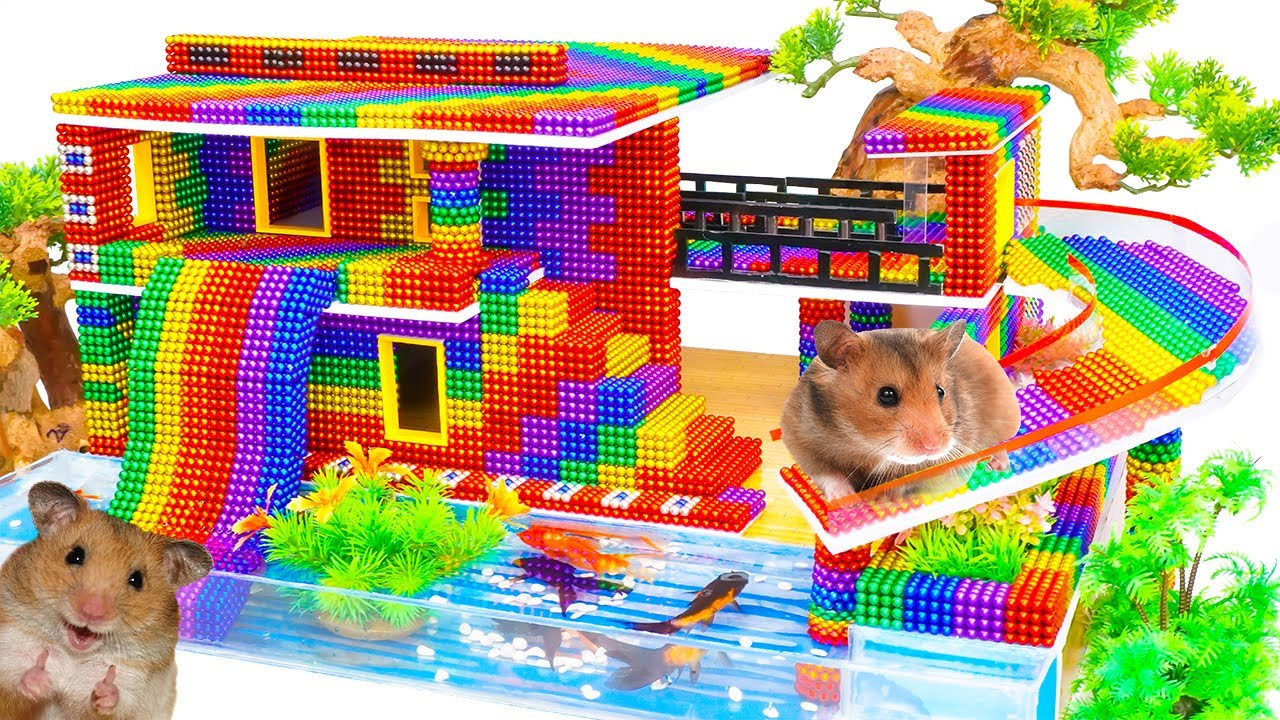 DIY - Build Modern Mansion Has Inflatable Slide For Hamster With Magnetic Balls (Satisfying)