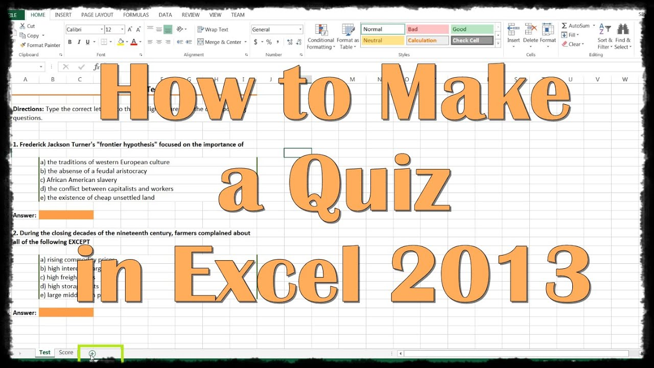 How To Make A Quiz In Excel 2017