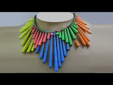Paper Crafts: Colorful Paper Bead Necklace | DIY Paper Jewelry