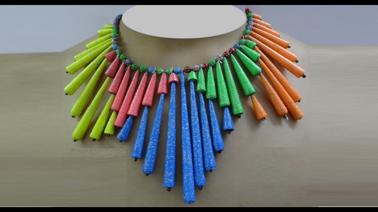 Paper Crafts Colorful Paper Bead Necklace Diy Paper