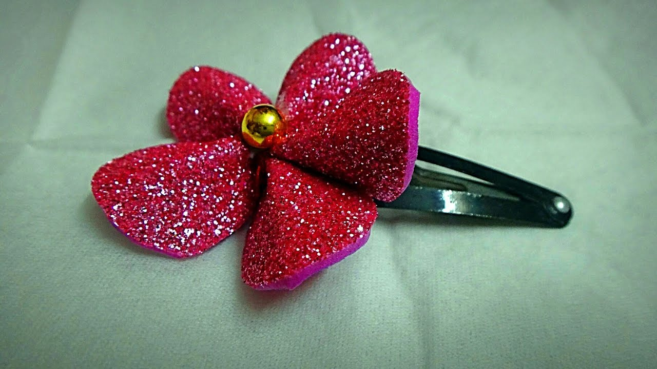 Foam Sheet Flower Hairclip For Kids Diy Hair Accessories Glitter