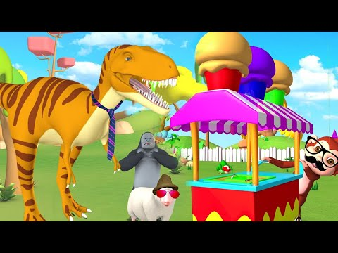 Funny Monkey Selling Ice Cream on Cart to Forest Animals | Funny Animals Cartoon Videos 3D Animated