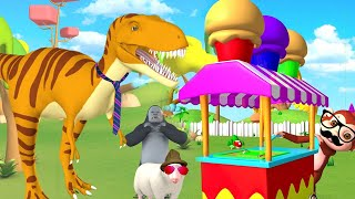 Funny Monkey Selling Ice Cream on Cart to Forest Animals   Funny Animals Cartoon Videos 3D Animated