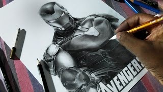 How to draw IRONMAN hyper realistic sketch time lapse tutorial/ AVENGERS ENGDAME