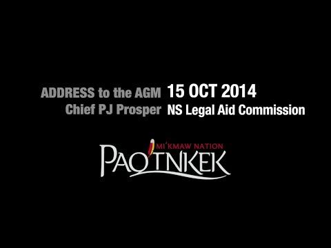 Chief Prosper Speaks at the Legal Aid AGM 2014