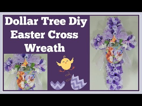 Dollar Tree DIY Cross Wreath for Easter 🌸 Easy and Fun to Make