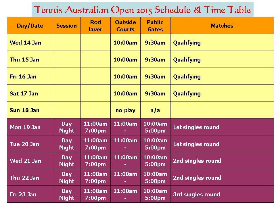 Tennis Australian Open 2015 Schedule & Time Table - YouTube