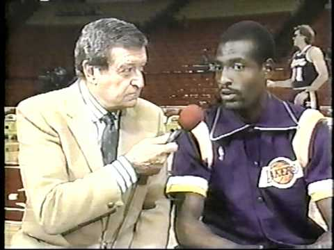 Chick Hearn with Michael Cooper