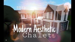 Roblox Bloxburg : Modern Aesthetic Chalet - 125 Bloxburg House Build