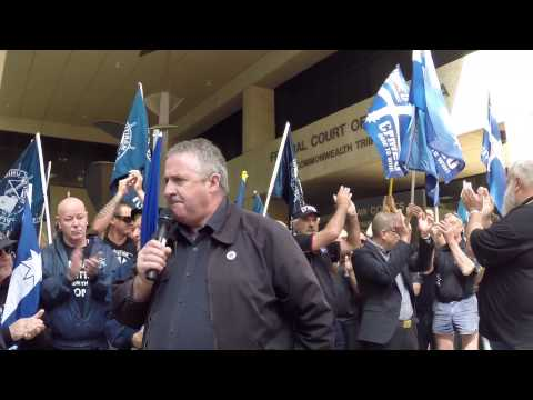 Rally to support the 76 at the Federal Court in Perth.
