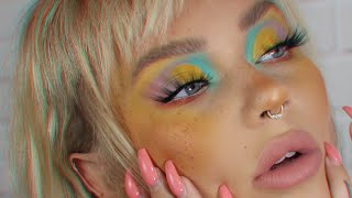 back with a bright colorful eyeshadow look / full face makeup tutorial