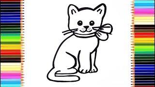Как нарисовать котёнка/ мультик раскраска кошка для детей / учим цвета