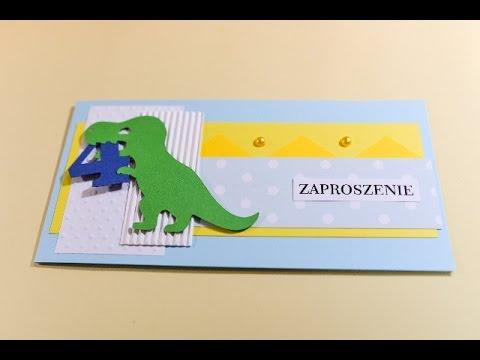 how to make birthday invitation card dinosaur step by step zaproszenie z dinozaurem