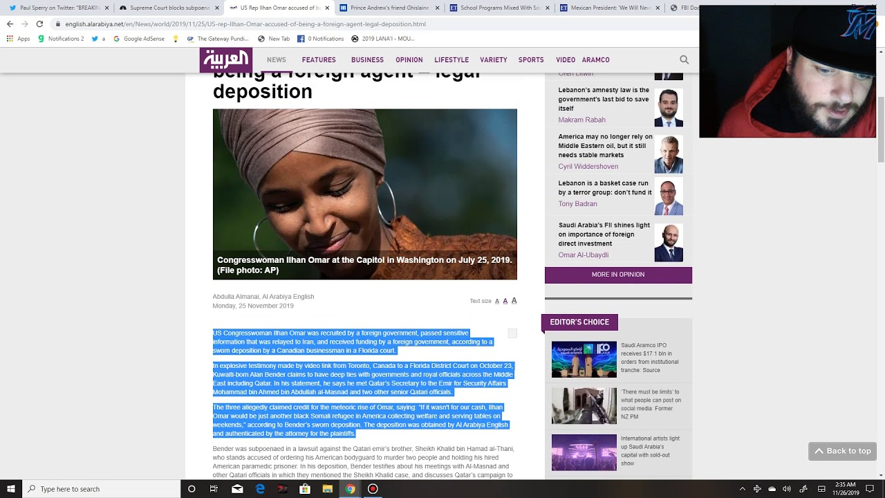 Rep. Omar named as agent of Qatar giving Iran sensitive information, Maxwell wants to talk - Puppet