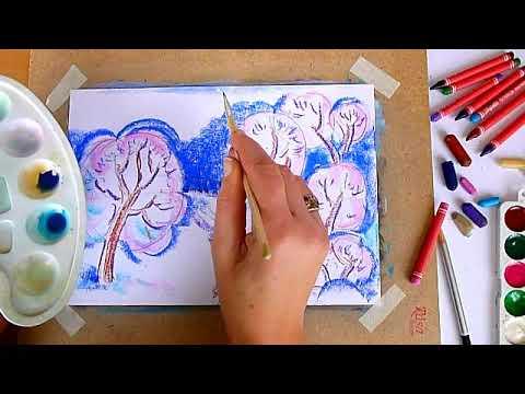 3 клас. Мистецтво. Малюємо зимовий пейзаж восковими олівцями та акварельними фарбами