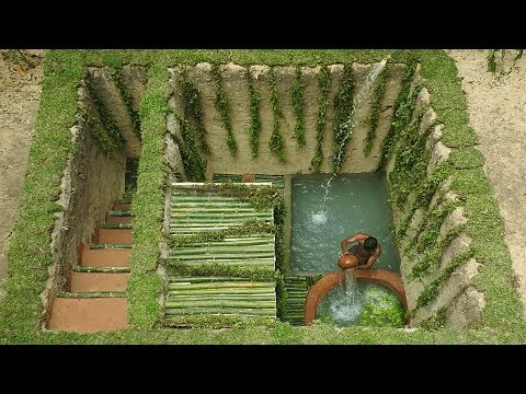 Dig To Build Most Medical Twin Pools \u0026 Underground Bamboo House