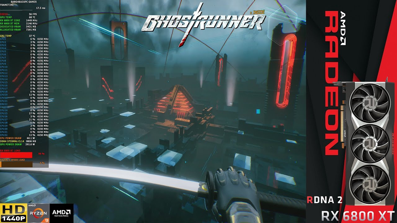 Download Ghostrunner Raytracing Epic/High Settings 1440p | RX 6800 XT | Ryzen 9 3950X