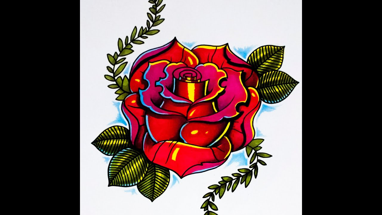 How to draw a rose new skool tattoo style part 2 youtube ccuart Image collections