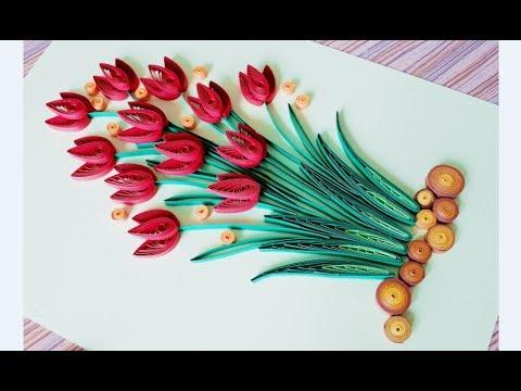 DIY Paper Quilling Flower For beginner Learning video 44 // Paper Quilling Flower Card