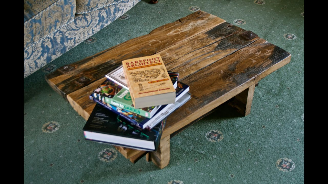 Reclaimed wood coffee table - recycled 500 year old oak ...