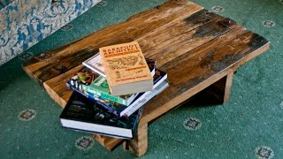 Reclaimed wood coffee table - recycled 500 year old oak DIY