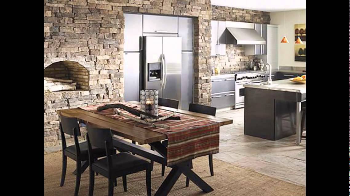 Dining Room Stone Wall | Desainrumahkeren.com